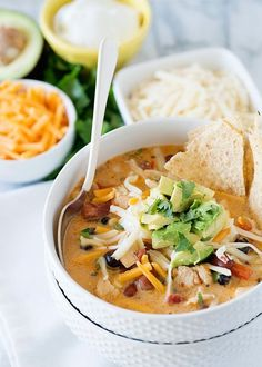Creamy Chicken Tortilla Soup creamy chicken tortilla soup recipe Bree Tichy Tichy Hester of Baked Bree Soup Recipes, Dinner Recipes, Cooking Recipes, Milk Recipes, Bree Cheese Recipes, Cooking Tips, Recipies, Bacon Recipes, Creamy Chicken Tortilla Soup