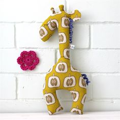 giraffe toy | softie | baby gift Retro apple print in mustard - handmade and perfect for litte hands. Her name is Gertrude. You can call her Gertie. by lolli & bean : www.madeit.com.au/lolliandbean