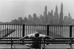 by LOUIS STETTNER - Manhattan from the Brooklyn Promenade, 1954