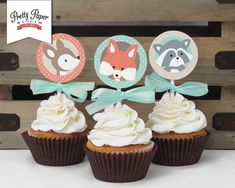 Cupcake Toppers Woodland Baby Shower // by ThePrettyPaperStudio Baby Shower Cupcakes For Boy, Cupcakes For Boys, Baby Shower Cupcake Toppers, Mesa Dulces Baby Shower, Fiesta Baby Shower, Baby Boy Shower, Baby Showers, 1950s Bridal Shower, Woodland Baby