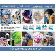 "Freebook Zuckerwolkenfabrik ""Zuckerhut"" Wendebeanie -- Zuckerwolkenfabrik Sewing Projects, Projects To Try, Baby Sewing, Sew Baby, Beanie Pattern, Sewing Clothes, Baby Hats, Fabric Patterns, Little Ones"