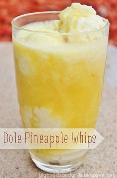 I don't know what a pineapple whip is but I think I want it. High Heels and Grills: Dole Pineapple Whips. Yes, these do taste a lot like the ones at Disneyland and yes, I could eat five of these in one sitting. Köstliche Desserts, Delicious Desserts, Dessert Recipes, Yummy Food, Tasty, Drink Recipes, Dessert Cups, Dole Pineapple Whip, Crushed Pineapple