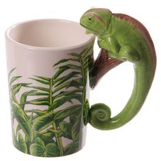 Coffee Cup Fun Rainforest Decal Chameleon Handle by getgiftideas
