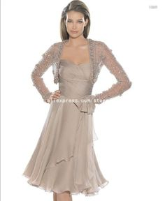 PR008 Newest Design Chiffon Long Sleeves Evening Mother of the Bride Dress with Beaded Jacket on AliExpress.com. $147.00