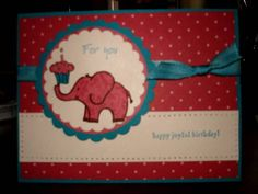 Birthday Pink Polka Dot Elephant by sheric12 - Cards and Paper Crafts at Splitcoaststampers