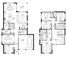 Mayfair 35 - Double Level - Floorplan by Kurmond Homes - New Home Builders Sydney NSW Double Storey House Plans, Two Story House Plans, 2 Storey House, Storey Homes, Dream House Plans, Two Story Homes, Small House Plans, House Floor Plans, Home Design Floor Plans