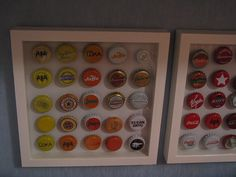 grouping the bottle caps into warm colors vs cool colors is neat too. Beer Bottle Caps, Bottle Cap Art, Beer Caps, Bottle Cap Projects, Bottle Cap Crafts, Crafty Craft, Crafty Projects, Crafting, Crafts To Do