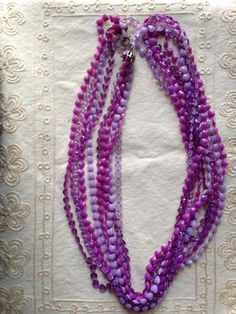 Playful Vintage Purple Plastic Beaded Multi Strand by DuckCedar