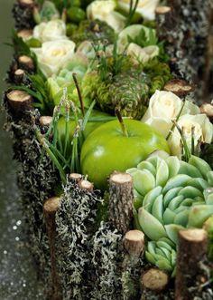 advendents dekoration af æbler, husløg, friske roser, små æbler, mos / lav sat i en oasis med mosbeklædte grangrene rundt om.