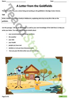 Gold Rush - Letter Writing Exercise Teaching Resource