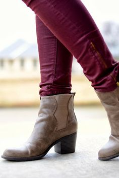 fall '13 trends || burgundy / plum / wine + neutral booties / ankle boots