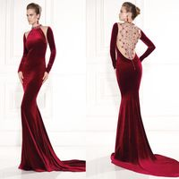 Sexy High Collar Mermaid Wine Red Velvet Beaded Long Sleeve Prom Dresses 2015 For Evening Party-149.99$