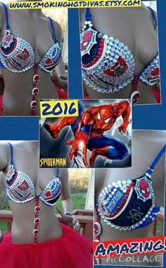 Spiderman rave bra custom made bra 36c ready to by Smokinghotdivas