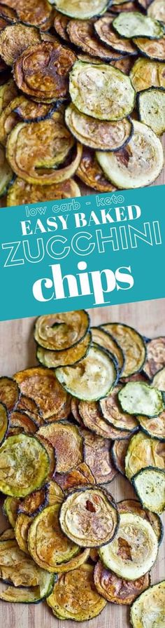 Delicious low carb easy baked zucchini chips are a tasty, crunchy, low calorie and low carb snack that everyone loves! Zucchini chips with no breading for a keto diet, paleo diet, or other low carb diet!