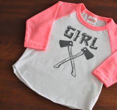 Baby Girly Axe AMERICAN APPAREL Baseball Tshirt Newborn by DearCub, $17.00