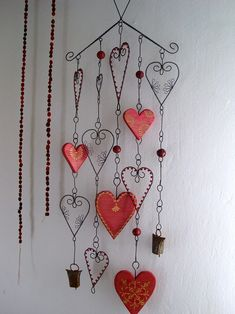 Mobiles, Wind Charm, Metal Coat Hangers, Hanger Crafts, Wire Ornaments, Wire Crafts, Paper Clay, Wire Art, Wind Chimes