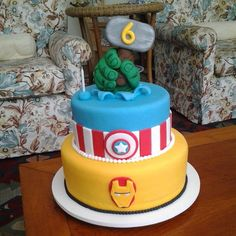 Pin for Later: 65 of the Very Best Cake Ideas For Your Birthday Boy A Marvel(ous) Cake This three-layer cake features some of Marvel's most powerful heroes.  Source: Instagram user marinamariutti