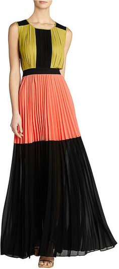 Bcbgmaxazria Color Blocked Pleated Maxi Dress in Pink (black combo) | Lyst