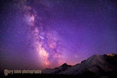 The Milky Way rises over Mt. Rainier from the Sunrise area of the Park.
