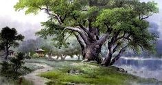 (North Korea) A Pine view by Im Young-il (1947-  )