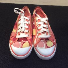 Multi-colored Coach Barrett sneakers Peach, yellow, white &red multi-colored Coach Barrett women's sneakers. Size 7. Lightly worn. 8/10 ⭐️ super cute with a white tee &jeans!!  Coach Shoes Sneakers