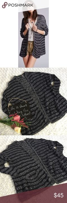"""Free People oversized cardigan Black and white striped oversized cardigan by Free People. Crochet like look. Size L. 23"""" arm pit to arm pit. 29"""" length. Free People Tops"""