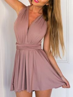 Gorgeous pink romper playsuit with a sexy halter cross back. This is an amazing piece for your spring summer collection! Fabric :Fabric has some stretch Season :Summer Pattern Type :Plain Color :Pink Date Dresses, Hoco Dresses, Homecoming Dresses, Sexy Dresses, Beautiful Dresses, Girly Outfits, Dress Outfits, Summer Outfits, Cute Outfits