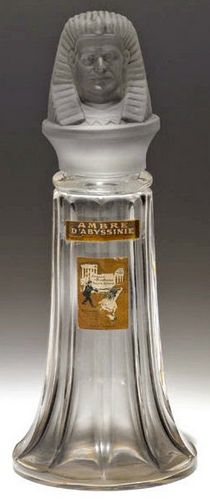 """Ambre d'Abyssinie""perfume by Bichara, bottle by Baccarat glass, French, c. 1916, Egyptian Revival"