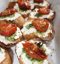 Crostini with Feta, Pesto and Slow Roasted Tomatoes! #afreerangelife @Annabel Langbein