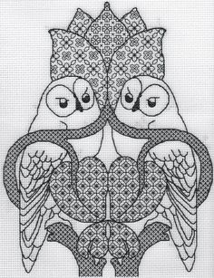 KL154 The Owl Blackwork Needlework Kit by by allaboutcrossstitch