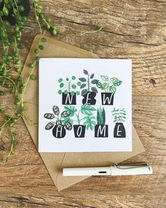 Potted Plants Happy New Home Greeting Card - Katrina Sophia New Home Greetings, New Home Cards, Happy New Home, Calligraphy Cards, Karten Diy, Watercolor Cards, Greeting Cards, Diy Cards, Potted Plants