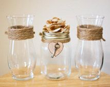 Rustic 'Key to My Heart' Mason Jar Unity Sand Ceremony Vase Set Romantic Country Shabby Chic Western Backyard Garden Woodland Beach Theme