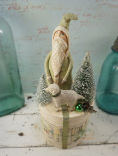 Christmas Decoration // Folk Art Santa // by CatandFiddlefolk, $62.00