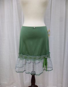 Ruffle Slip Skirt S/M Forest Grass Green Glam Garb by glamgarb