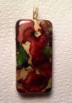 Pine Green Maroon and Gold Alcohol Ink Pendant