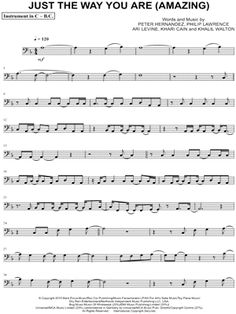 """Bruno Mars """"Just the Way You Are - Bass Clef Instrument"""" Sheet Music (Cello, Trombone, Bassoon, Baritone Horn or Double Bass) - Download & Print"""
