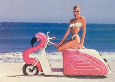 Custom Pink Flamingo Motor Scooter.