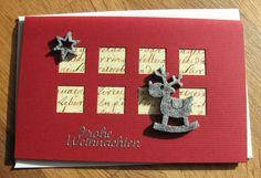 Weihnachtskarte aus hochwertigem Kartenpapier mit dekorativen Elementen aus Filz und Stickern. Die Karten wurde in Handarbeit gefertigt.