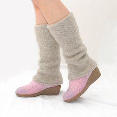 Boiled wool leg warmers beige  knit leg warmers  by WoolenClogs, $55.00