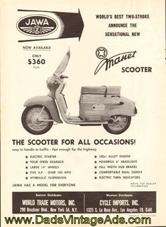 The Scooter for all occasions! Only $360  Original, Vintage Magazine Ad  Size: Approx. 8 x 10 1/2 (20 cm x 27 cm).  Condition: Good   5910amot04