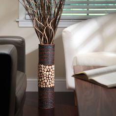 Elegant Expressions Natural Mixed Media Cylinder Vase, 1 Each Bottle Art, Bottle Crafts, Indian Home Decor, Diy Home Decor, Blue Home Offices, Natural Wood Flooring, Cylinder Vase, Fake Flowers, Ceramic Vase