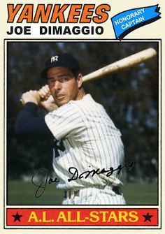 1977 Topps Joe Dimaggio All Star, New York Yankees, Baseball Cards That Never Were.