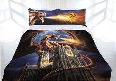 Dragon Castle Quilt Doona Duvet Cover Set Boys Bedding Castle Fairytale Dragons