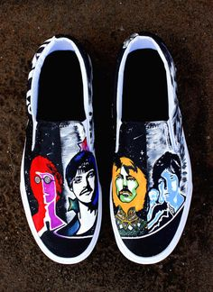 Product Description:  Custom Pop Art Beatles Shoes  The Process:  I can create Custom Artwork based on a theme your choice and you dont have one you can give me a list of things and colors that you love and I will create something for you. I hand paint every shoe and create One of a Kind Artwork for each pair.– If you want a design you see here, I will create the personalized and new version for you.  The price includes the purchase of the shoes themselves. - If you would like a different…