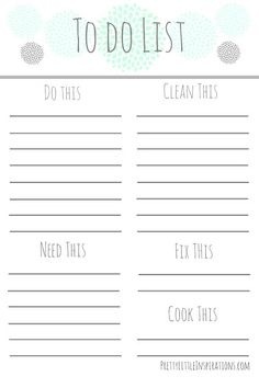 {Free Printable} To Do List