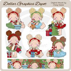 Lucy Enjoys Christmas - Clip Art Collection - Only $1.00 at www.DollarGraphicsDepot.com : Great for printable crafts, scrapbook pages, Christmas greeting cards, Christmas party invitations, holiday gift tags / labels, holiday gift boxes / bags, candy bar wrappers, hot cocoa packets, cupcake toppers, embroidery patterns, and much more!