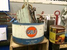 "Vintage Gulf Bucket   11"" Diameter x 6"" High   $25  Vintage Affection Dealer #1680  White Elephant Antiques 1026 N. Riverfront Blvd. Dallas,..."