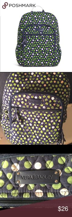 """Vera Bradley Lucky Dots Green Blue Campus Backpack Super cute and in good used condition!  Bag still feels crisp and has no issues with zippers, seams, etc.  Slight wear under straps and some markings (lip gloss?) inside front pocket.  See pics for details!  Has zip pockets (one with interior organizational pockets), side pockets, Main compartment features two slip pockets, two pen slips and an ID sleeve.  🎧 cord opening. Back panel & straps padded. Zip closure.  Dimensions 12"""" w x 16"""" h x…"""