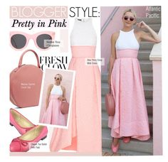 """Blogger Style- Pretty in Pink (Atlantic Pacific )"" by kusja ❤ liked on Polyvore featuring Alex Perry, Mansur Gavriel, Illesteva, StreetStyle, Pink, BloggerStyle and atlanticpacific"