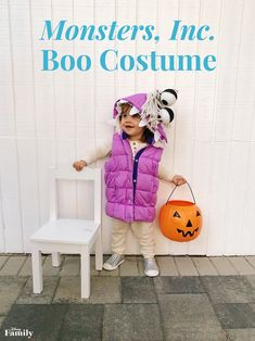 Have your little one channel their inner Boo from 'Monsters, Inc.' by dressing up like a scarer. Sully And Boo Costume, Monsters Inc Halloween Costumes, Monster Inc Costumes, Halloween Bebes, Halloween Boo, Halloween Costumes For Girls, Halloween 2020, Disney Halloween, Pixar Costume